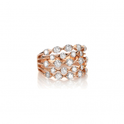 Wave 18k Rose Gold and Diamond Five Row Ring