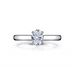 18k White Gold Solitaire Mounting for Oval Diamond Engagement Ring
