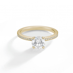1912 18k Yellow Gold and Diamond Engagement Mounting Ring