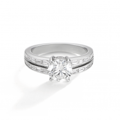 1912 Platinum Round and Baguette Diamond Mounting Engagement Ring