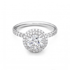 Lisette 18k White Gold and .55TW Diamond Double Halo Engagement Ring