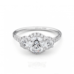 Lisette 18k White Gold 3 Stone Diamond Engagement Ring