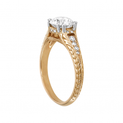 1912 18k Yellow Gold and .09TW Diamond Engagement Mounting Ring