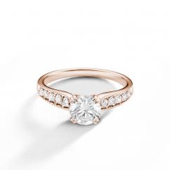 Hamilton Cherish 18k Rose Gold and Diamond Milgrain Engagement Ring