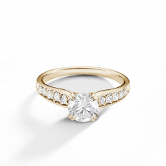 Hamilton Cherish 18k Yellow Gold and Diamond Milgrain Ring