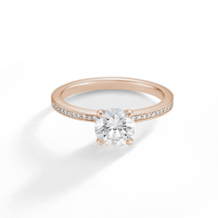 1912 18k Rose Gold and Diamond Engagement Mounting Ring