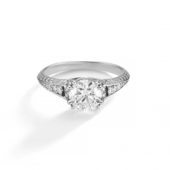 1912 18k White Gold and Diamond Engagement Mounting Ring