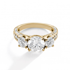 1912 3 Stone 18k Yellow Gold and Diamond Engagement Mounting Ring