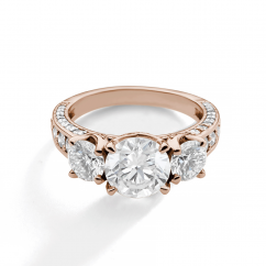 1912 3 Stone 18k Rose Gold and Diamond Engagement Mounting Ring