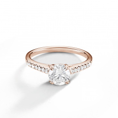 Hamilton Cherish 18k Rose Gold and Diamond Micro Prong Engagement Ring