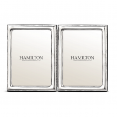 Hamilton Sterling Silver 5x7 Beaded Double Frame
