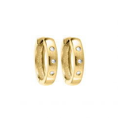 Children's 14k Gold and Diamond Snap Hoop Earrings
