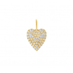 14k Yellow Gold and Diamond Heart Charm