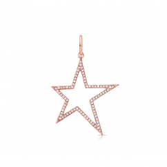14k Rose Gold and Diamond Shooting Star Charm