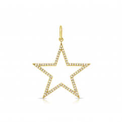 14k Yellow Gold and Diamond Star Charm