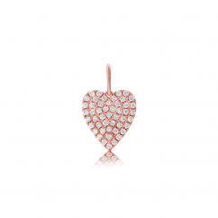 14k Rose Gold and Diamond Heart Charm