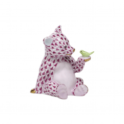 Herend Pink Bear With Bird