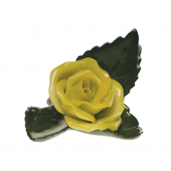 Herend Yellow Rose on Leaf