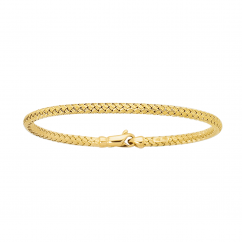 Classic 14k Gold Basketweave Bangle Bracelet