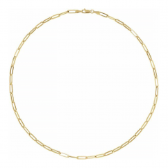 """14k Yellow Gold 3.85mm Large Long Link Chain 16"""" Necklace"""