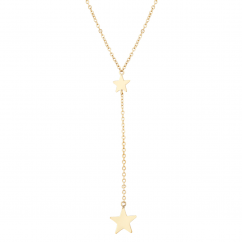 14k Yellow Gold Star Drop Necklace