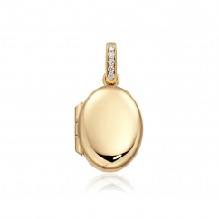 18k Gold 16mm Oval Locket with Diamond Bale