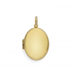 18k Yellow Gold 25mm Locket With Diamond Bale