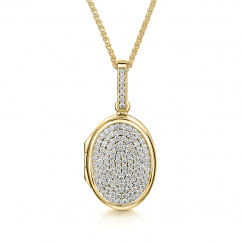 18k Yellow Gold and Pave Set Diamond 16mm Locket