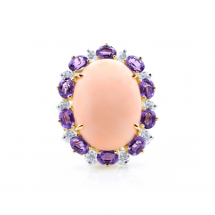Oscar Heyman Platinum and 18k Gold Coral and Amethyst Ring