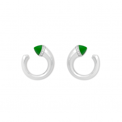 Marli 18k White Gold Cleo Venus Green Jade Diamond Stud Earrings