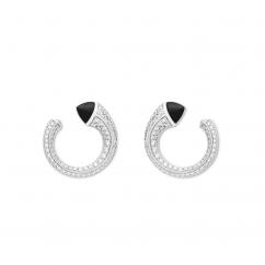 Marli 18k White Gold Cleo Venus Black Onyx Diamond Stud Earrings