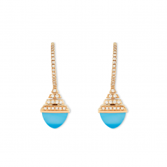 Marli 18k Rose Gold Cleo RevMini Chalchedony Diamond Drop Earrings