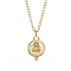 Temple St. Clair 18k Gold and Diamond 16mm Angel Pendant