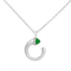 Marli18k White Gold Green Jade Diamond Pendant