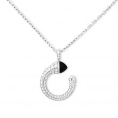 Marli 18k White Gold Cleo Venus Black Onyx Diamond Pendant