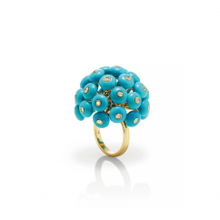 Chantecler Dandelion 18k Gold and Turquoise Ring, Exclusively at Hamilton Jewelers