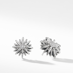 Starburst Earrings with Diamonds, 16mm