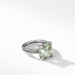 David Yurman Chatelaine® Ring with Prasiolite and Diamonds Sterling Silver