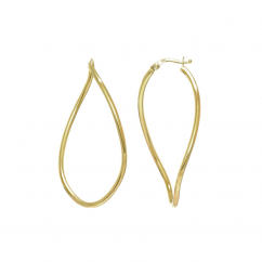 14k Gold Twist Oval Hoop Earrings