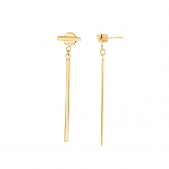 14k Yellow GoldTube Drop Earrings