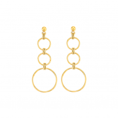 14k Yellow Gold Open Circle Drop Earrings