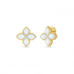 Roberto Coint Princess Flower 18k Gold and Mother of Pearl Earrings