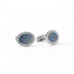 18k White Gold and Opal Oval Cufflinks