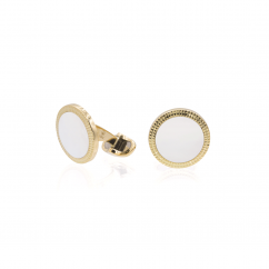 18k Yellow Gold and Mother of Pearl Cufflinks