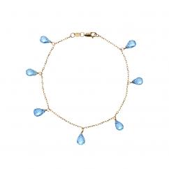 Calypso 14k Gold Blue Topaz Drop Bracelet