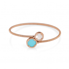 1970's 18k Rose Gold and Turquoise Bracelet