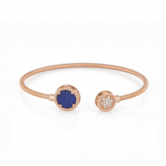 1970's 18k Gold Lapis and Diamond Bracelet
