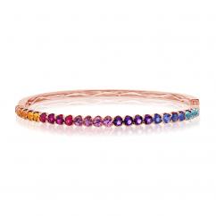 14k Rose Gold Multi Gemstone Rainbow Bangle Bracelet