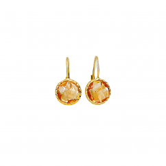 Facets 14k Gold and Citrine Earrings
