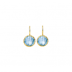 Facets 14k Gold and Blue Topaz Earrings
